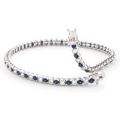 HBRGBS047 Blue Sapphire & Diamond Tennis Bracelet - white