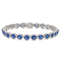 HBRGBS048 Blue Sapphire Halo Diamond Single Line Bracelet - white