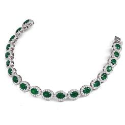 HBRGEM050 Emerald Gemstone Halo Diamond Single Line Bracelet - white