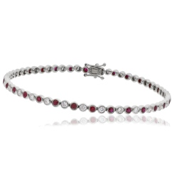 HBRGRY046 Ruby & Diamond Single Line Bracelet - white