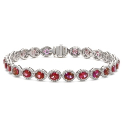 HBRGRY049 Ruby Halo Diamond Single Line Bracelet - white