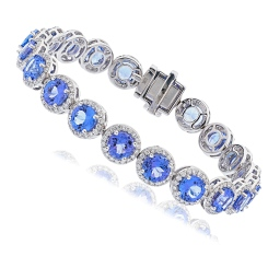 HBRGTZ052 Tanzanite & Diamond Halo Tennis Bracelet - white