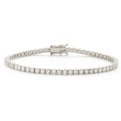 HBRSR072 Single Row Round Diamond Tennis Bracelet - white