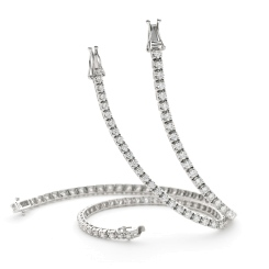 HBRSR075 Claw Set Single Row Brilliant cut Diamond Bracelet - white