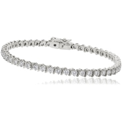 HBRSR078 Single Row S-Link Round Diamond Bracelet - white
