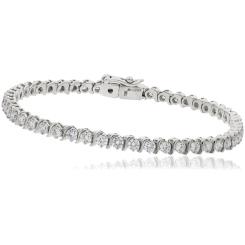 HBRSR078 Single Row S-Link Round Diamond Bracelet - white