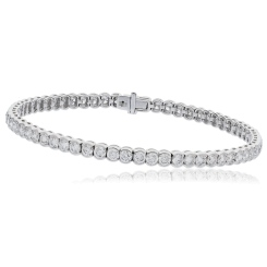 HBRSR079 Semi Bezel Single Row Diamond Bracelet - white