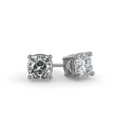 HEC130 Cushion Stud Diamond Earrings - white