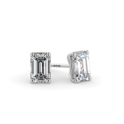 HEE127 Emerald Stud Diamond Earrings - white