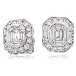 HEECL123 Emerald & Round cut Halo Cluster Diamond Earrings - white