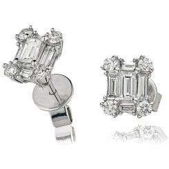 HEECL131 Emerald Cluster Diamond Earrings - white