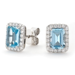 HEEGAQ296 Emerald cut Aquamarine Single Halo Earrings - white