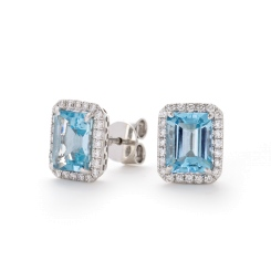 HEEGAQ297 Emerald cut Aquamarine & Diamond Earrings - white