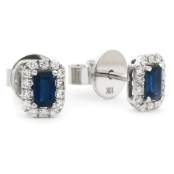 HEEGBS279 Emerald Shape Blue Sapphire & Diamond Halo Earrings - white