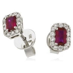 HEEGRY280 Emerald Shape Ruby & Diamond Halo Earrings - white