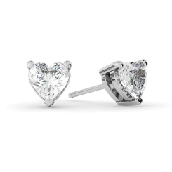 HEH129 Heart Stud Diamond Earrings - white