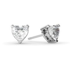 HEH129 Heart Stud Diamond Earrings - white