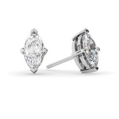 HEM128 Marquise Stud Diamond Earrings - white