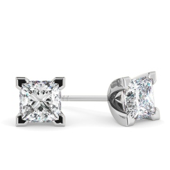 HEP91 Princess Stud Diamond Earrings - white