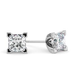 HEP91 Princess Stud Diamond Earrings - white