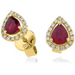 HEPEGRY284 Pear cut Ruby & Diamond Stud Halo Earrings - yellow