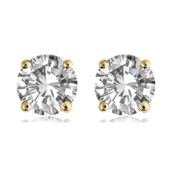 HER1980 0.40CT VS/F ROUND DIAMOND STUD EARRINGS - yellow