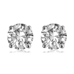 HER1983 0.70CT VS/F ROUND DIAMOND STUD EARRINGS - white