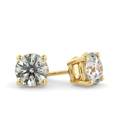 HER22 Round Stud Diamond Earrings in 18K Yellow Gold - 0.61ct, I clarity, FG colour - yellow