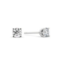 HER401 0.40 Round cut Diamond Stud Earrings - Premium Quality - white