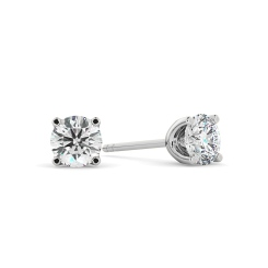 HER404 0.70 Round cut Diamond Stud Earrings - Premium Quality - white