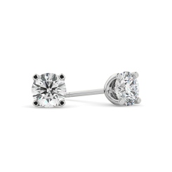 HER405 0.80 Round cut Diamond Stud Earrings - Premium Quality - white
