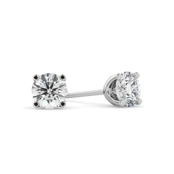 HER406 0.90 Round cut Diamond Stud Earrings - Premium Quality - white