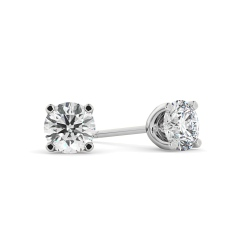 HER407 1.00 Round cut Diamond Stud Earrings - Premium Quality - white