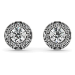 HER60 Round cut Halo Designer Diamond Earrings - white