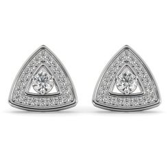 HER61 Triangular Halo Round cut Designer Diamond Earrings - white