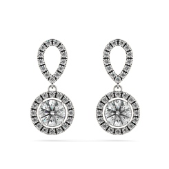 HER62 Micro set Round cut Halo Drop Diamond Earrings - white