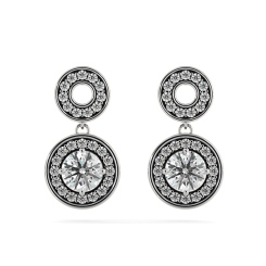 HER63 Double Round Halo Dangling Diamond Earrings - white
