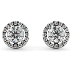 HER64 Round Micro set Halo Designer Diamond Earrings - white