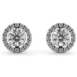 HER64 Round Micro set Halo Designer Diamond Earrings - white