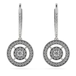 HER67 Claw set Round Double Halo Designer Diamond Earrings - white