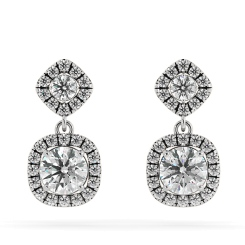 HER68 Round cut Cushion Double Halo Diamond Earrings - white