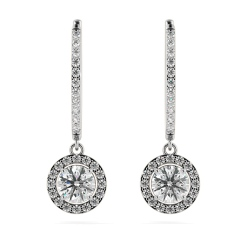 HER69 Round cut Long Dangling Halo Diamond Earrings - white
