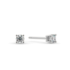 HER94 0.18ct Round cut Stud Diamond Earrings - white