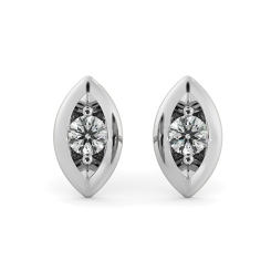 HERDR77 Round cut Designer Leaf Stud Diamond Earrings - white