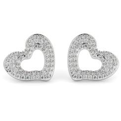 HERDR81 Round cut Designer Heart Diamond Earrings - white