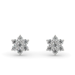 HERDR92 Round Floral Cluster Designer Diamond Earrings - white