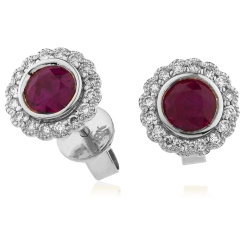 HERGRY262 Round Cut Ruby Single Halo Earrings - white