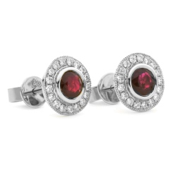 HERGRY265 Round Shape Ruby Halo Earrings - white