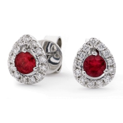 HERGRY282 Round cut Ruby & Diamond Stud Halo Earrings - white