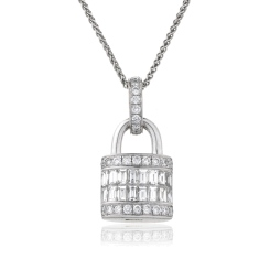HPBDR137 Baguette & Round cut Lock & Key Diamond Pendant - white